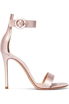 Heel measures approximately 105mm/ 4 inches Pastel-pink satin Buckle-fastening ankle strap  Made in Italy