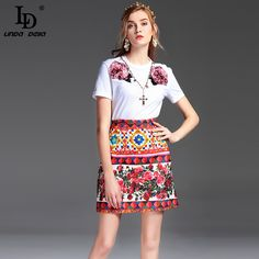 Aliexpress.com : Buy High Quality Summer New Fashion Tops Whiter T Shirts Women's Short Sleeve Charming Rose Floral Sequined Tops Tees from Reliable top tees suppliers on LD LINDA DELLA Official Store