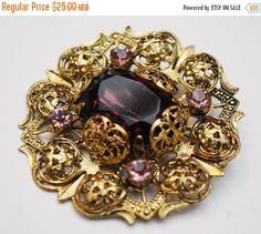 Purple  Glass Brooch  - Brass Gold Filigree - Amethyst crystal rhinestone - floral flower pin