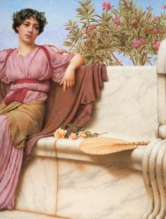 John William Godward Tranquillity right painting, oil on canvas & frame; John William Godward Tranquillity right is shipped worldwide, 60 days money back guarantee. John William Godward, Turbans, Romantic Drawing, Lawrence Alma Tadema, Classical Greece, Sculpture Painting, Pre Raphaelite, Reproduction, 1 John