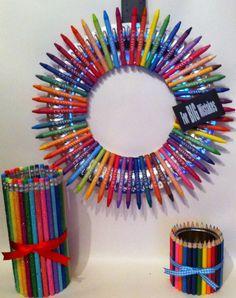 "Teacher appreciation Gift. Wreath made with crayons, ruler & eraser. 12"""