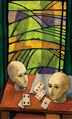 "Felice Casorati (Italian, 1883-1963) - ""Due teste e carte da gioco"" (Two heads and playing cards), 1946"