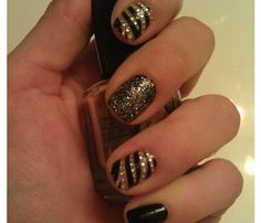 Black & gold holiday nails