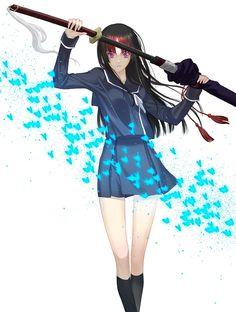 nagas:    ssbt:      kfka:      stzky:      hisame:      lunaryue:      brinsta:    black hair blunt bangs ga-rei ga-rei zero highres hime cut isayama yomi katana sakamoto mineji short hair sword weapon