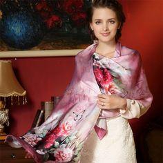 2016 Women 100% Silk Scarf Shawl Spring Autumn Female Silk Scarves Long Printed Shawls Beach Cover-ups 175*52cm 17 colors AM220