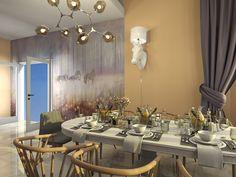 Кухня-столовая в загородном доме on Behance