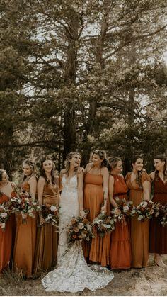Forest Wedding, Dream Wedding, Wedding Stuff, Fall Mountain Wedding, Fall Bridesmaid Dresses, Orange Wedding Dresses, Bridesmaids With Different Dresses, Blue Wedding Suits, Fall Wedding Bridesmaids