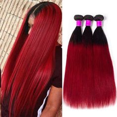 """She slayed the Straight Hair Red Bundles Deal inch now available for anyone, anywhere, anyday❤️ Grab yours and…"""" Weave Hairstyles, Straight Hairstyles, Cool Hairstyles, Buy Hair Extensions, Best Virgin Hair, Mo Hair, Virgin Hair Bundles, Hair Weft, Remy Human Hair"""