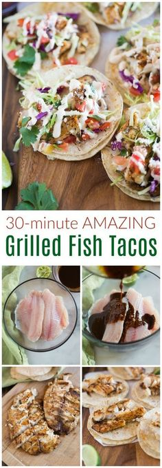 AMAZING and healthy Grilled Fish Tacos loaded with all the best toppings, including cabbage, pico de gallo and a simple homemade white sauce, or