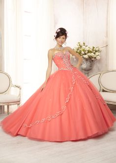 I could be Princess Peach for a day! #thepromdresses Vizcaya 88088 - Coral Embroidered Quinceanera Prom Dresses Online