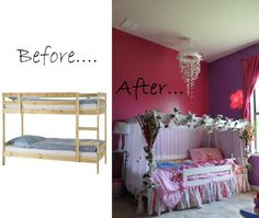 Turned my sonu0027s old bunkbed into my daughter canopy ...  sc 1 st  Pinterest & Disney Frozen Hanging Bed Canopy   Hanging beds Bed canopies and ...