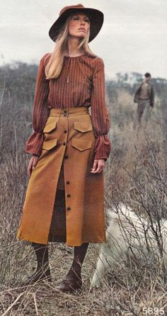 1970's mid calf length skirts, fall colors, hats and stockings.