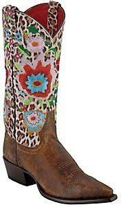 Anderson Bean® Macie Bean™ Ladies Distressed Brown Cheetah Floral Snip Toe Boots