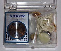 Vintage Arrow Micro Transistor Radio, Model 3001, Earphone Listening Only.