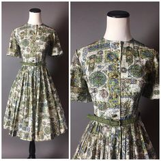 Vintage 50s dress / 1950s dress / shirtwaist dress / novelty print  / novelty print dress / fit and flare dress / day dress / 8324