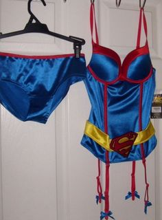 0173c8d919b DC SUPERMAN SUPER GIRL PUSH UP UNDERWIRE CORSET   PANTIES COSPLAY COSTUME  SMALL  SPENCERS  HookEye
