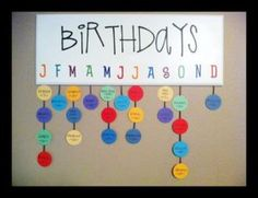 what a great way to display your student's birthdays! The board you can keep for year after year use, simply replace the students.