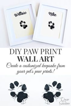 DIY your photo charms, compatible with Pandora bracelets. Make your gifts special. Make your life special! How cute is this DIY paw print wall art? What an adorable memento for their little paw prints. I so need to do this with my dogs! Diy Wall Art, Wall Art Decor, Pet Decor, Room Decor, Craft Projects, Projects To Try, Pet Paws, Dog Crafts, Paw Print Crafts
