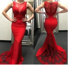 Charming Prom Dress, Sexy Red Mermaid Prom Dresses with Appliques, Lace Evening Dress by prom dresses, $179.00 USD