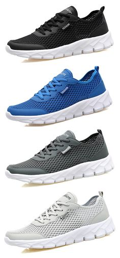 Men Mesh Fabric Breathable Pure Color Running Shoes Casual Sneakers