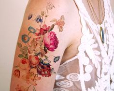 Vintage floral temporary tattoo / bohemian temporary by Siideways