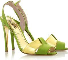 Jerome C. Rousseau Green Aurora Satin Sandals