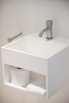 Bring both refined and sturdy elements in your modern toilet with Dutch designer brand COCOON | Solid surface toilet basin by COCOON | Toilet basin tap Mono09 by COCOON || #COCOON faucets made of brushed #Inox #StainlessSteel are both available on byCOCOON.com and on inoxtaps.com.
