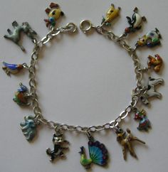 RARE GERMAN DECO VINTAGE SILVER ENAMEL ANIMAL CHARM BRACELET 14 Colorful Charms