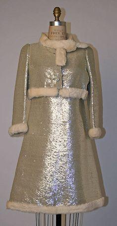 André Courrèges, Evening dress, plastic, fur 1967 via Metmuseum