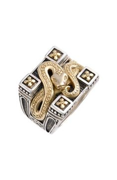 Konstantino 'minos' Carved Serpent Ring In Silver/ Gold Men's Jewelry Rings, Snake Jewelry, Silver Jewelry, Jewellery, Konstantino Jewelry, Gents Ring, Unusual Rings, Serpent, Silver Wedding Rings
