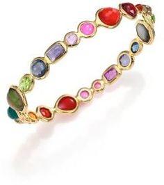 IPPOLITA Rock Candy Fall Rainbow Semi-Precious Multi-Stone & 18K Yellow Gold Bangle Bracelet