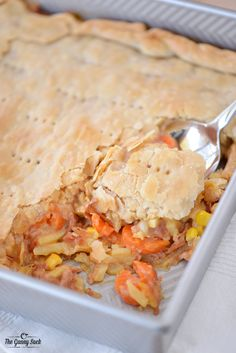 This Cheesy Ham Pot Pie recipe is easy to make for a family dinner. It's a great way to use up leftover ham.