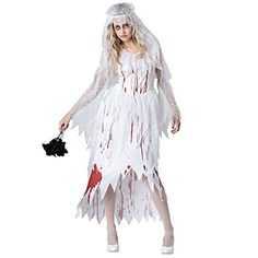 Halloween costume adult child party party witch ghost bride zombie red magic dinosaur vampire dress Ghost bride2160170CM -- Want additional info? Click on the image-affiliate link. #HalloweenCostumes