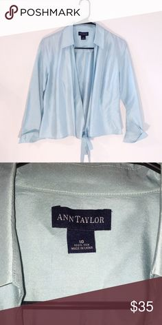Ann Taylor Tie front Blue Blouse Super cute for summer, baby blue / powder blue Blouse. Tie at the bottom of the front. Soft stretchy fabric. Cute over a tank or bralette. Ann Taylor Tops Blouses