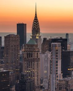 Golden light at the Chrysler Building. NYC