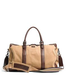 5fa0be0bfb4 Brooks Brothers Washed Canvas and Leather Duffle ($348) Mens Luggage,  Distressed Leather,