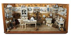Exceptional German Wooden Blue and White Kitchen with Rare Painted Tin Furnishingsc1910  (Theriault  $5,220)