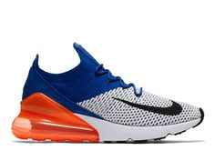 more photos a12a2 54ecc Coussin Dair Officiel Nike Air Max 270 Flyknit Chaussures Sportswear Homme  Bleu orange blanc AO1023-