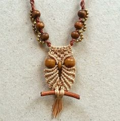 Small owl macrame necklace, free step-by-step tutorial by Ecocraftia . . ღTrish W ~ https://www.pinterest.com/trishw/ . . . . #handmade #jewelry #pendant