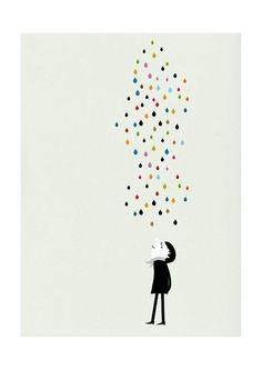 BLANCA GOMEZ | MONSIEUR UNDER THE RAIN | A4 アートプリント/ポスター:楽天