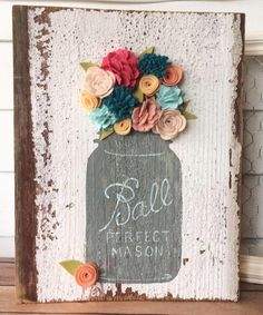 Mason Jar Floral Rustic Decor Wood Sign by TheOldWhiteShedIowa