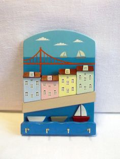 Jewelry hanger or Key Holder/Hanger for keys/Jewelry Display/Miniature house/Home Decor/Wall Key Holder/3D Wood Wall Art by KseniaBerzina on Etsy