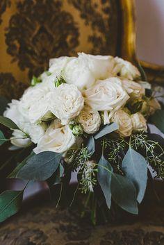 Cream Rose Bouquet Flowers Bride Bridal Glamorous Gatsby City Hall Wedding http://www.emmakenny.com/