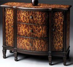 BRITISH COLONIAL WEST INDIES STYLE FURNITURE Buffet Cabinet ~LEOPARD ...