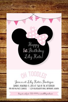 Pink and White Minnie Mouse Birthday Party por lilypadboutiquestore