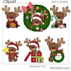 DIGITAL SCRAPBOOKING CLIPART  Reindeer Fun by BoxerScraps on Etsy, $1.00