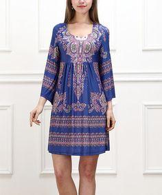 Look what I found on #zulily! Blue Damask Empire-Waist Dress #zulilyfinds