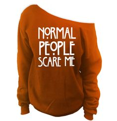 Normal People Scare Me Off-The-Shoulder Oversized Slouchy Sweatshirt
