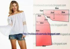 PASSO A PASSO MOLDE DE BLUSA Corte dois retângulos de tecido ou papel com a altura e largura que pretende para as costas e frente. Dobre ao meio o retângul