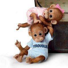 Amazon.com: Monkey Baby Doll Set: Double Trouble by Ashton Drake: Toys & Games